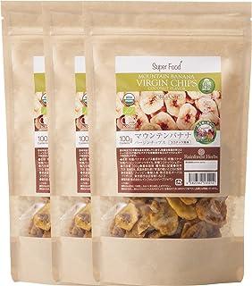 有機JAS認定 オーガニック バナナチップス 100g 3袋 (ココナッツ風味) USDA EURO CERTIFIED ORGANIC MOUNTAIN COCONUT VIRGIN CHIPS (COCONUT NECTOR SUGAR TASTE)