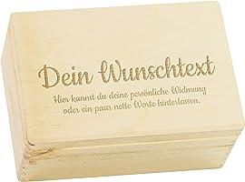 LAUBLUST Holzkiste Personalisiert mit Wunsch-Gravur - Geschenkkiste & Erinnerungsbox | M - ca. 30x20x14cm, Natur FSC®