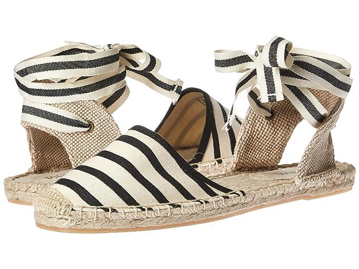Vintage Sandals | Wedges, Espadrilles – 30s, 40s, 50s, 60s, 70s Soludos Classic Sandal Natural Black Womens Sandals $48.71 AT vintagedancer.com