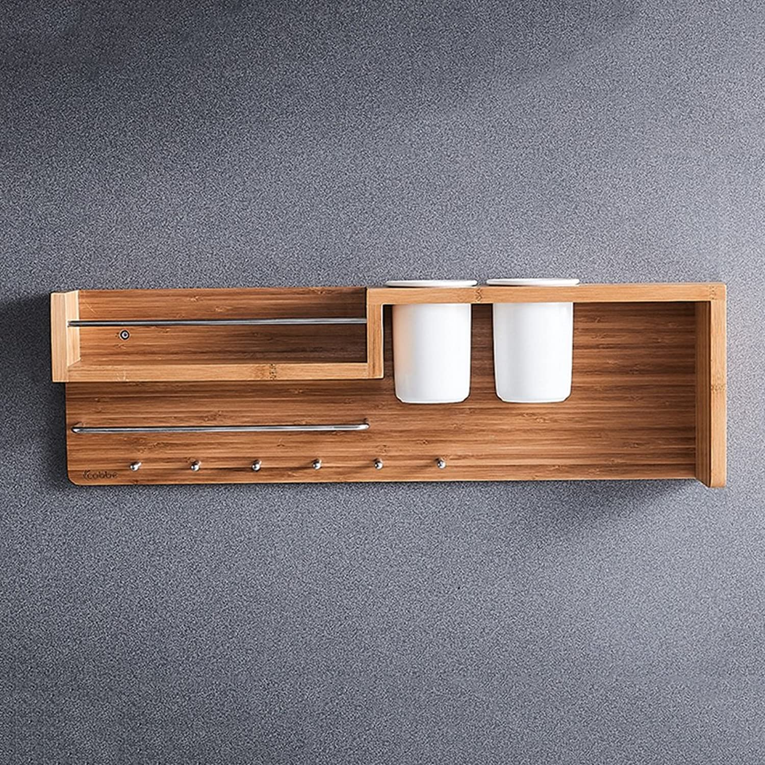 Kitchen Shelf Storage Rack, Wall-Mounted Bamboo Spice Shelf with Ceramic Storage Cup and Hooks -by TIANTA