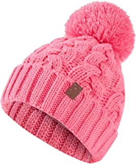 Sponsored Ad - ASUGOS Kids Fall Winter Hats Cotton Jersey Lined Soft Warm Boys Girls Cold Weather Beanie with Big Yarn Pom...