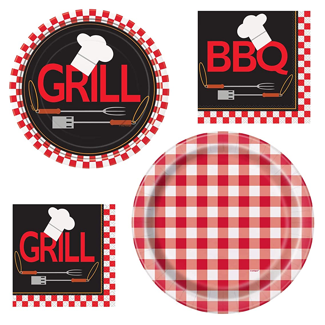 Unique Backyard BBQ Dinnerware Bundle | Luncheon & Beverage Napkins, Dinner & Dessert Plates | Great for Picnic, Events, Barbecue Nights, Outdoor Gatherings, Gingham Theme