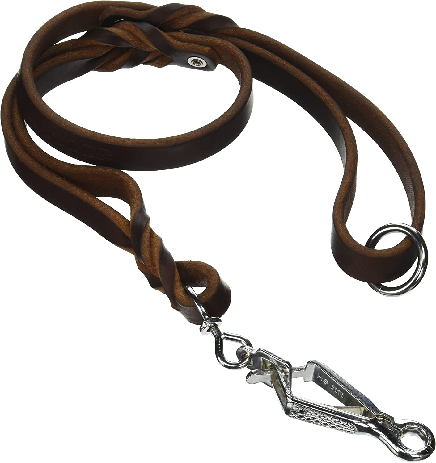 Dean & Tyler Braidy Bunch Dog Leash with Stainless Steel Ring on Handle and Herm Sprenger Snap Hook, 3Feet by 3 4Inch, Brown