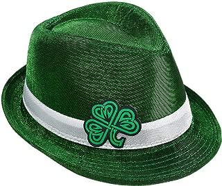 Rhode Island Novelty Adults Saint Patrick's Day Irish Celtic Shamrock Fedora Hat Costume Accessory Green/White