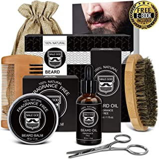 Beard Care Kit, Beard Grooming Kit with Natural Organic Beard Oil and Beard Balm, Wooden Beard Brush and Comb, Beard Scissors, Luxury Gift Box and Free eBook, Perfect Gifts for Men
