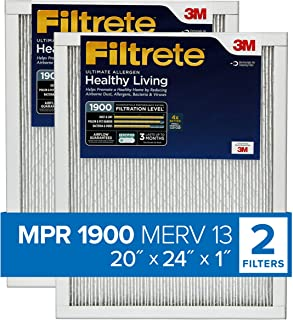 Best Filtrete 20x24x1, AC Furnace Air Filter, MPR 1900, Healthy Living Ultimate Allergen, 2-Pack (exact dimensions 19.81 x 23.81 x 0.78) Review