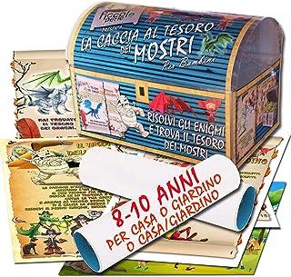 Caccia al tesoro dei mostri in scatola per casa o giardino o casa/giardino 8-10 anni - per feste di compleanno - giochi pe...