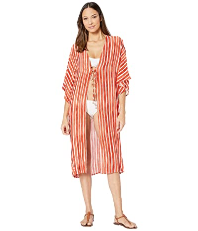Vince Camuto Hammock Stripe Kimono Midi Cover-Up w/ Tie Front Detail (Papaya) Women