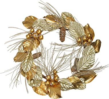 """CC Home Furnishings 24"""" Golden Treasures Glitter Berries and Pine Cone Christmas Wreath"""