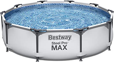 Bestway MAX Steel Pro Round Frame Swimming Pool with Filter Pump, Grey, 10 ft, Multicolor