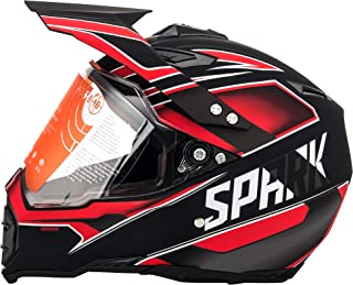 Motorcycle Modular Full Face Helmet Off-Road Dirt Bike Motorcycle Flip up Dual Visor Sun Shield Red Black L by MotorFansClub