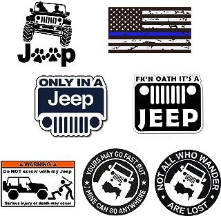GTOTd Stickers for Jeep TJ Side Panel Logo (7-PCS) 4x4'' Jeep Sticker Bumper Stickers Vinyl Decal Sticker Pack