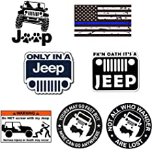 GTOTd Stickers for Jeep TJ Side Panel Logo (7-PCS) 4x4'' Jeep Sticker Bumper Stickers Vinyl Decal Sticker Pack