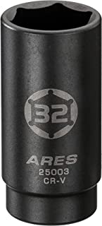 ARES 25003-1/2-Inch Drive 6 Point Axle Nut Socket (32MM) - Extra Deep Impact Socket for Easy Removal of Axle Shaft Nuts