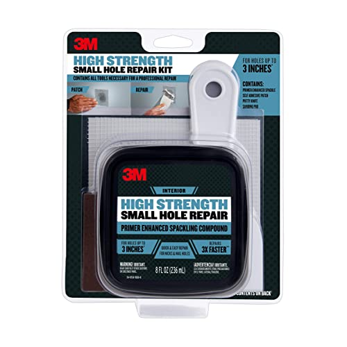 3M SHR High Strength Small Hole Repair Kit with 8 fl. oz Plus Primer, Self-Adhesive Patch, Putty Knife and Sanding Pad, 1 tub, White