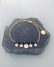 Bracciale in acciaio inossidabile gourmet da donna con perline e francobolli in oro e argento, bracciale d'oro, idea regal...