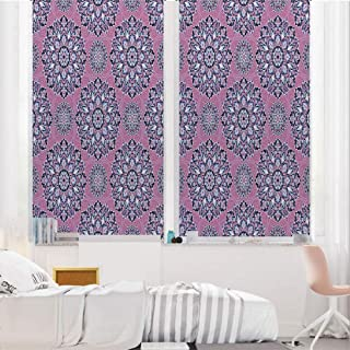 Purple Mandala 3D No Glue Static Decorative Privacy Window Films, Middle Eastern Oriental with Ornamental Featured Lines Decorative,17.7″x36″,for Home & Office Decor,Dried Rose Indigo Light Blue