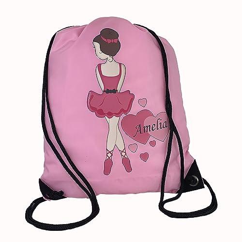 Personalised Kids Ballet Theme Drawstring Swimming, School, PE Bag For Girls 3ce693c1c0