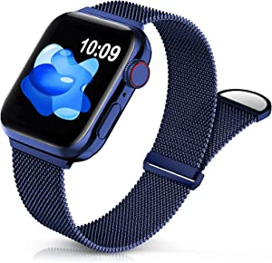 Sunnywoo Metal Stainless Steel Band Compatible with Apple Watch Bands 38mm 40mm 42mm 44mm,Navy Blue Loop Adjustable Strap Magnetic Replacement Wristband for iWatch Series 7 6 5 4 3 2 SE for Women Men