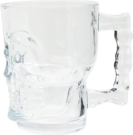 Caneca para Chopp e Cerveja de Vidro Caveira Rock Style Lyor Transparente 510Ml