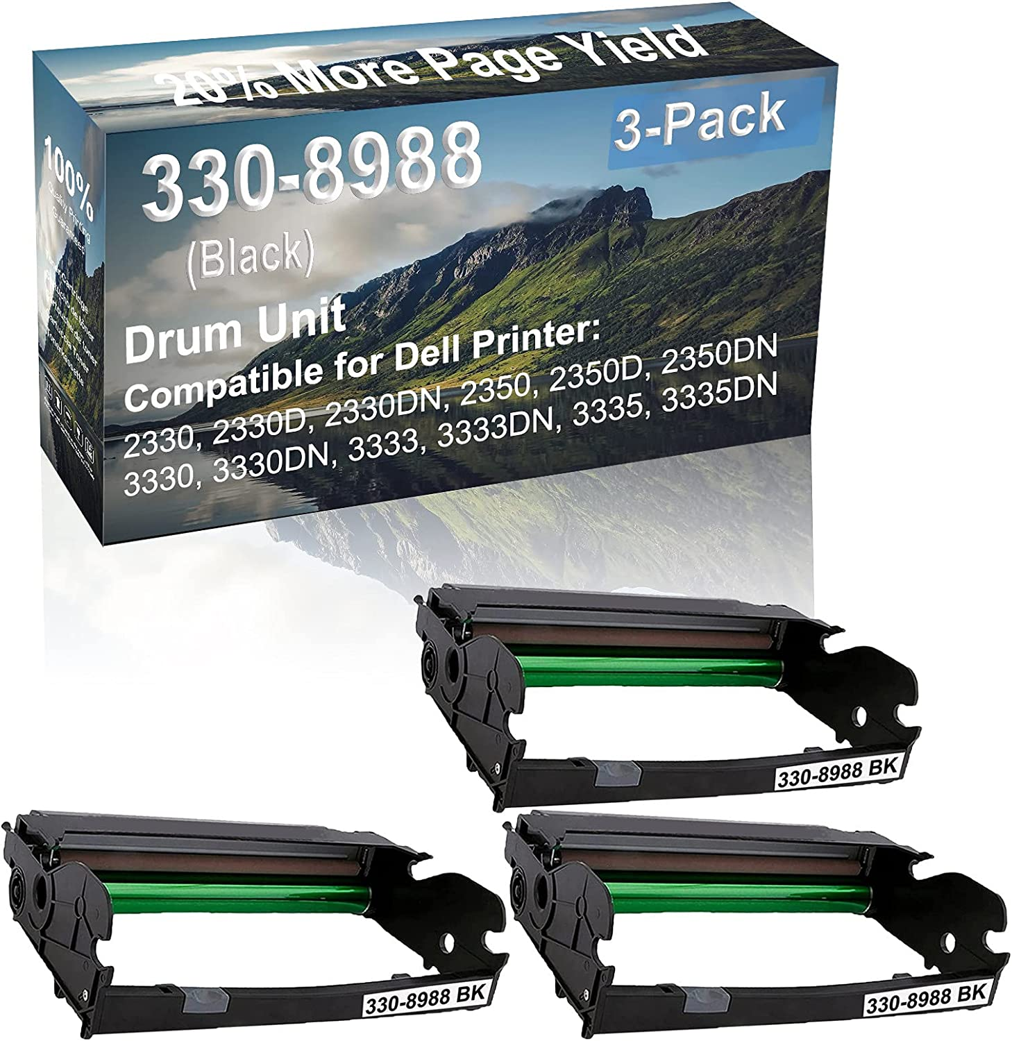 3-Pack Compatible 330-8988 Drum Kit use for Dell 2330, 2330D, 2330DN, 2350 Printer (Black)