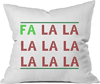 Oh, Susannah FA LA LA Christmas Throw Pillow Cover (1 18 x 18 Inch, Green, Red)
