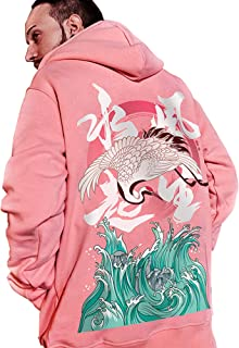 XYXIONGMAO Street Trend Crane Graphic Hoodie Chinese Style Oversized Couple Hoodie Men (red, S)