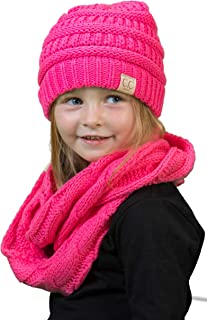 Girls Boys Infinity Scarf Matching Hat Beanie Tail Headwrap Bundle - Candy Pink