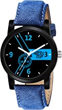 Swadesi Stuff Analogue Black Dial Leather Strap Watch for Men and Boy