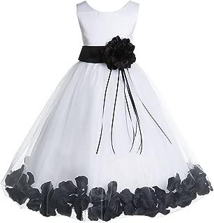 Rose Petals White Flower Girl Dresses Pageant Dress Baptism Dress 007ss