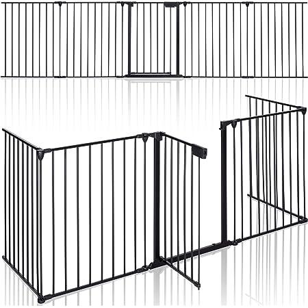 KIDUKU® Barriera di sicurezza 305 cm per Bambini e Animali   Cancelletto Griglia di Sicurezza per Camino - Preassemblato   Barriera Protettiva Pieghevole per Porte o Scale - 5 Pannelli