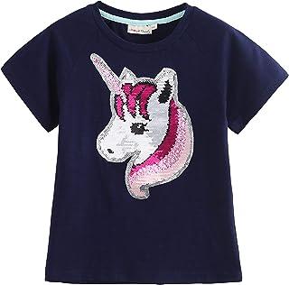 Unicorn Flip Heart Sequin Girl's T-Shirt Short/Long Sleeve 3-12 Years