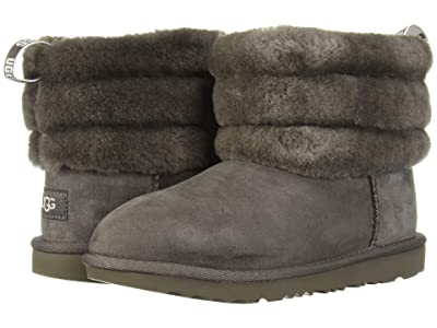 UGG Kids Fluff Mini Quilted (Little Kid/Big Kid) (Charcoal) Girl