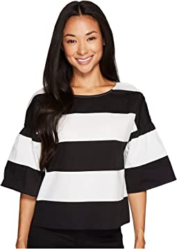 Vince Camuto Specialty Size - Petite Drop Shoulder Ruffle Sleeve Camden Stripe Blouse