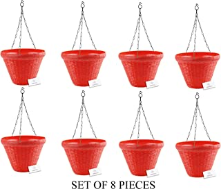 Unique Plastic Hanging Pot with Metal Chain (Red, Pack of 8)