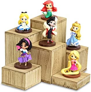 Mooca Wooden 6 Pcs Square Risers for Display Jewelry and Accessories Display Stand, Oak