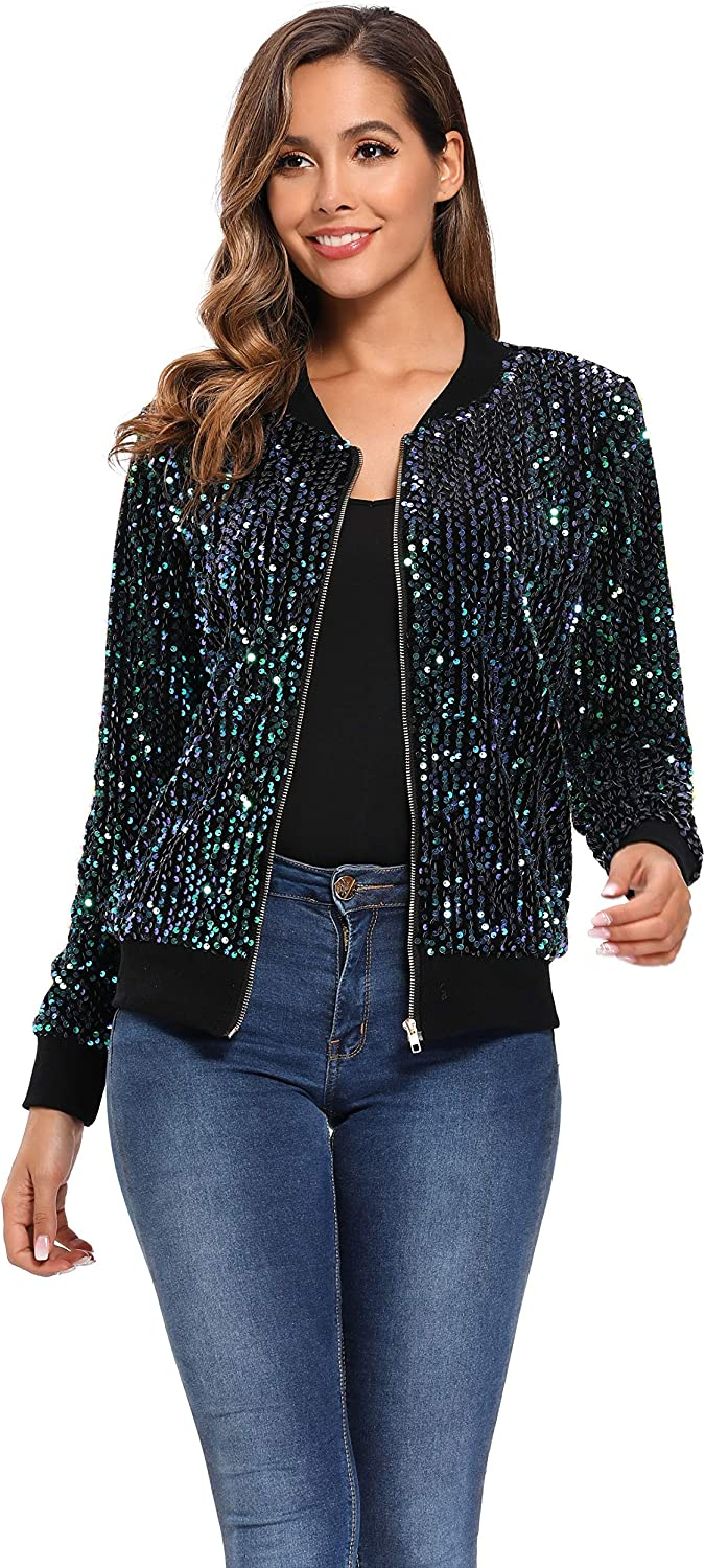 Women's Sequin Fitted Long Sleeve Zipper Blazer Bomber Jacket with Ribbed Cuffs