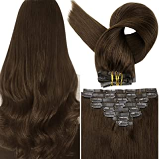 Clip in Human Hair Extensions 22 Inch Color 4 Medium Brown Clip ins for Hair Extensions Long Straight Human 8 Pieces 100 G...