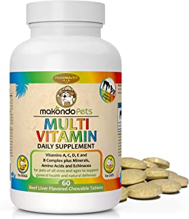 Makondo Pets Multivitamin for Dogs and Cats (60 Tablets) Puppy, Kitten, Pregnant Adults, and Senior Animals | Vitamins, Mi...