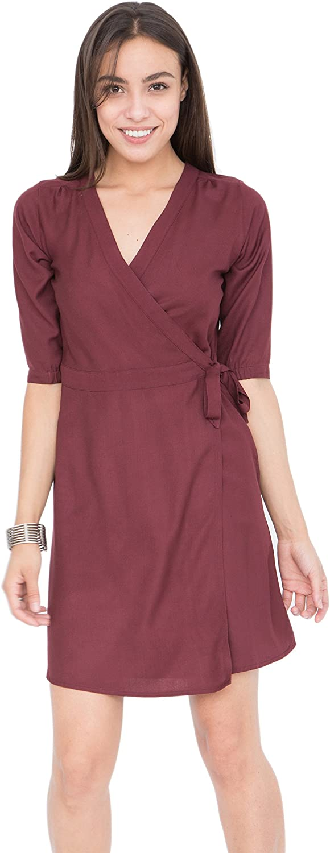 Likemary Burgundy Wrap Dress with 3 4 Sleeves