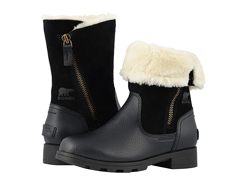 SOREL Kids Emelietm Foldover (Little Kid/Big Kid) (Black) Girls Shoes