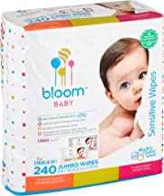 "Baby Wipes by bloom BABY | Unscented | For Sensitive Skin | Formulated for Diaper Area | Water-Based | Infused with Plant-Derived Vitamins | Hypoallergenic | Textured & Thick 8""x7"" Wipes 