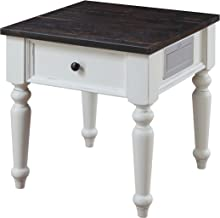 Emerald Home Mountain Retreat Dark Mocha and Antique White End Table with Solid Plank Top And Turned Legs