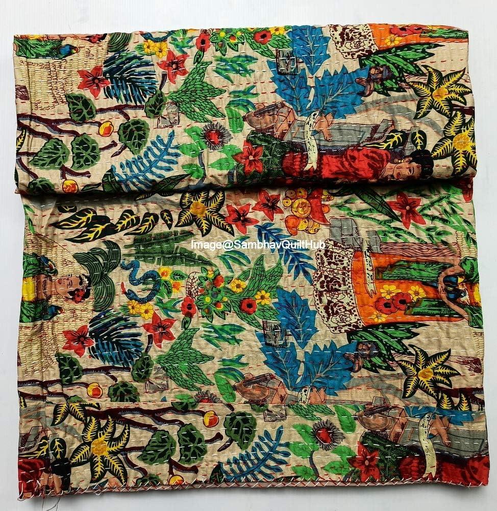 Sambhav Quilt Hub Beige Frida Printed Daily bargain sale Quilted Kahlo Blank Spasm price Cotton