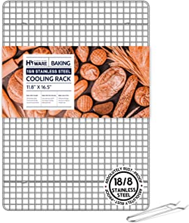 """Cooling Rack for Baking with Lifting Handle, 100% 18/8 Stainless Steel Baking Rack, 11.8""""x 16.5"""", Oven and Dishwasher Saf..."""