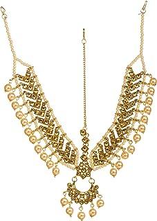 Bindhani Indian Bollywood Style Wedding Gold Plated Bahubali Head Jewelry Maang Tikka Traditional Mang Tika Jewellery Dami...