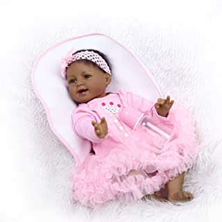 iCradle 22'' 55cm Crafted Pink Dress Soft Vinyl Silicone Lovely Handmade Real Life Like Reborn Baby Doll Realistic American India Style Newborn Dolls Alive Magnet Pacifier Xmas Gift Unwashable