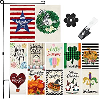 12 Pieces Seasonal Garden Flags Double Sided Holiday House Flag Vertical Decorative Outdoor Flags Welcome Party Yard Flags...