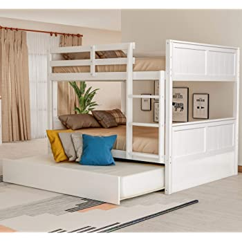 Amazon Com Full Over Full Bunk Bed For Kids Teens Detachable Wood Full Bunk Bed Frame With Trundle Kitchen Dining