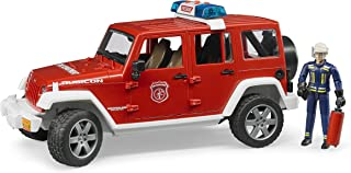 Bruder 02528 Jeep Rubicon Fire Rescue Vehicle with Lights & Engine Sounds with Fireman Figurine